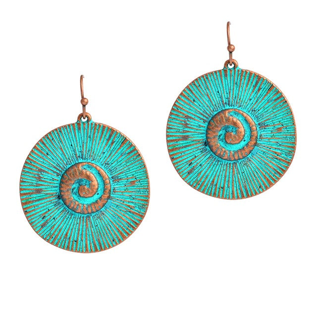 Bohemian Blue Ocean Disc Round Drop Earrings