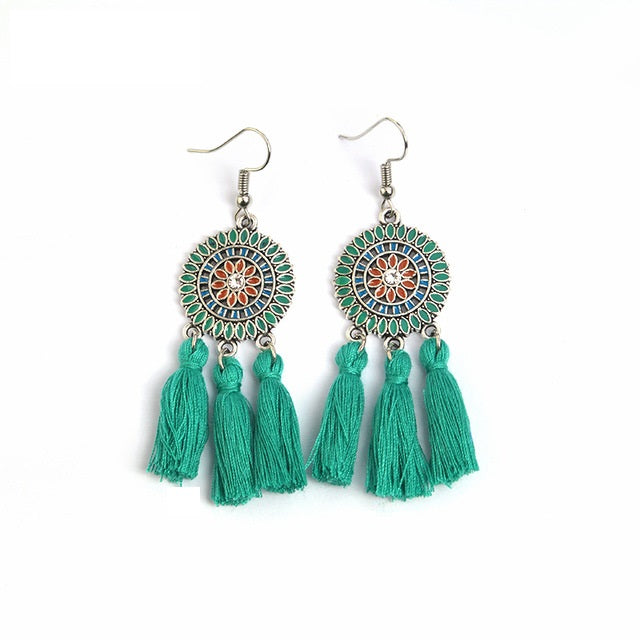 Sea Green Round Drop Tassle Boho Hook Earrings