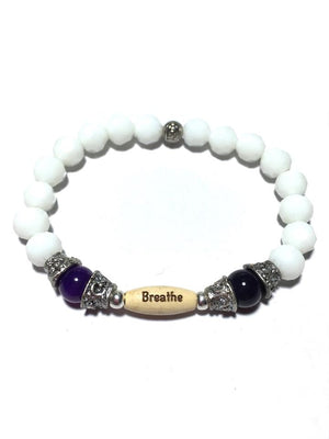 Breathe Inspirational Charm Gemstone Beaded Amethyst Bracelet