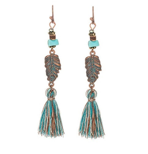 Boho Tassel Earrings Leaf Turquoise Bead Earrings Patina Earrings