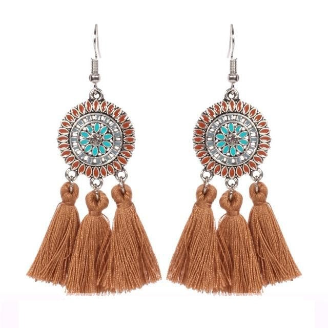 Brown Dream Catcher Round Drop Tassel Boho Hook Earrings