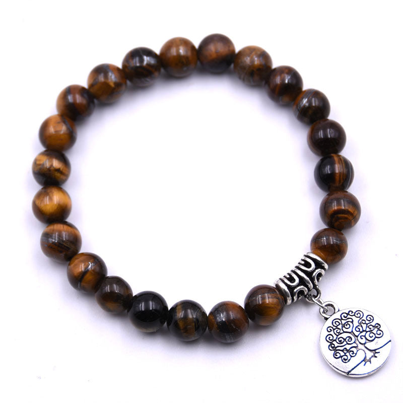 Tree of Life Charm Tigers Eye Gemstone Bracelets