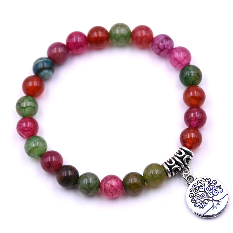 Tree of Life Charm Dragon Agate Gemstone Bracelets