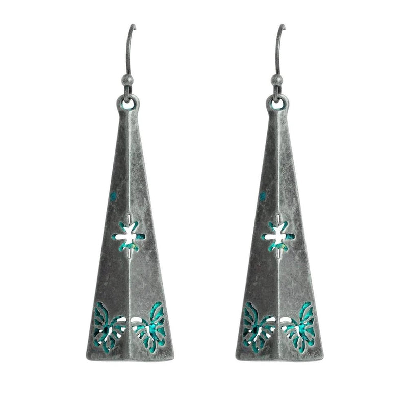 Bohemian Silver Patina Triangle Drop Earrings