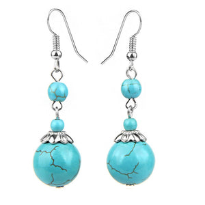 Turquoise Round Silver Boho Drop Dangle Earrings
