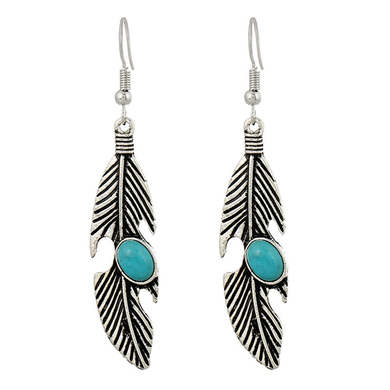 Silver Feather Turquoise Drop Earrings