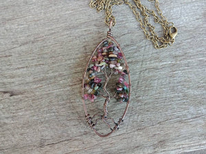 Tree of Life Indian Agate Wire Wrapped Necklace