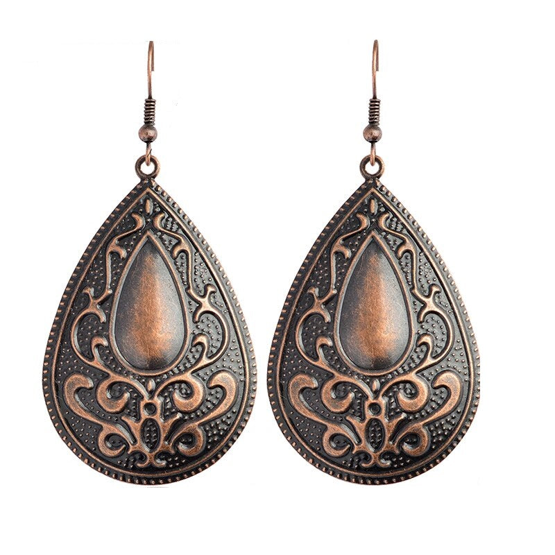 Bohemian Copper Tear Drop Rustic Earrings