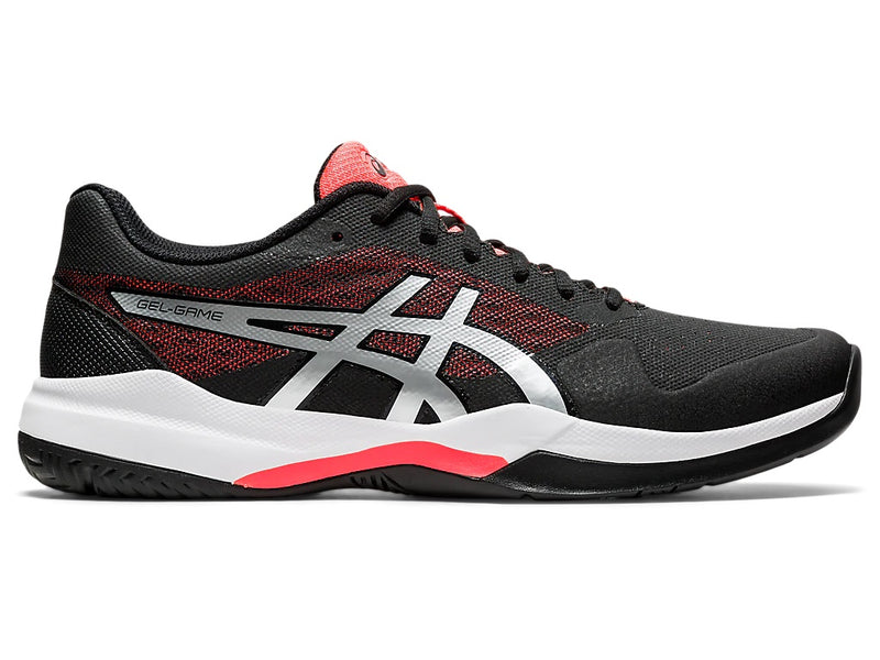 Asics Men's Gel-Game 7 Tennis Shoes (Black/Flash Coral)