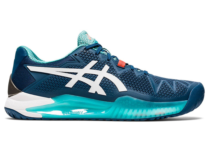 Asics Men's Gel-Resolution 8 Tennis Shoes (Mako Blue/White)
