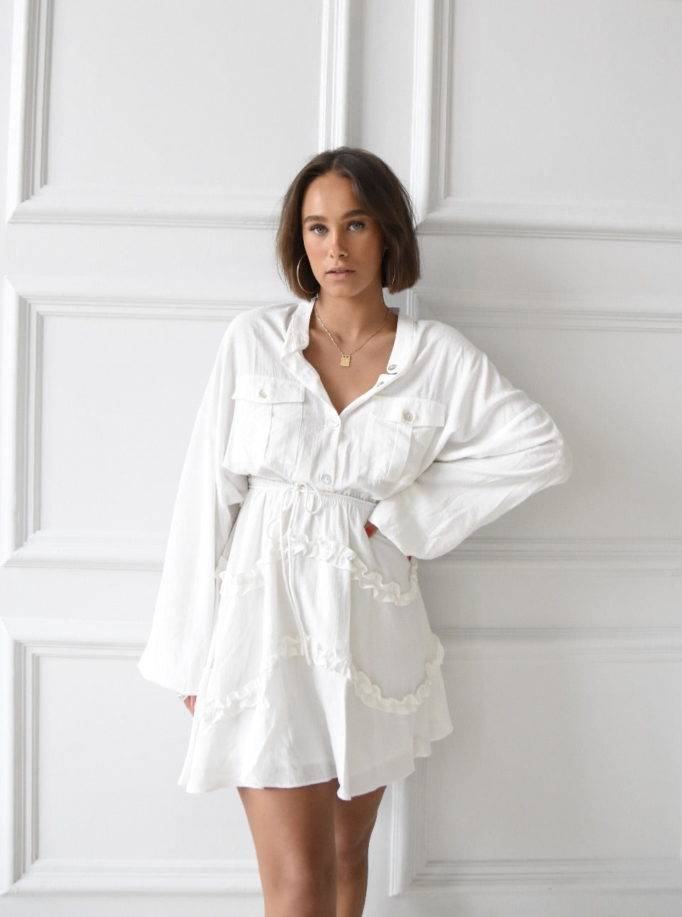 vaye women nizza white flounce shirt summer dress