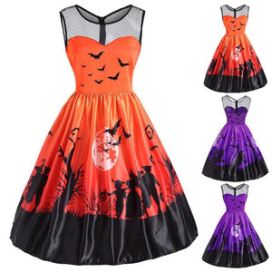 eeefbfc6b1 WOMAIL Halloween Dresses Woman Vintage Print Casual Dresses Sleeveless  Halloween Party Swing Dress Ladies Dropship 18Aug17