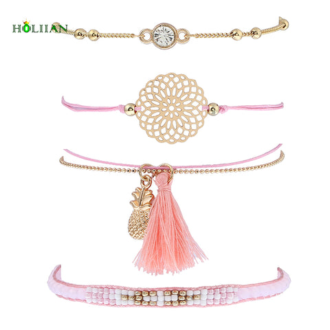 Tassel Pineapple Bracelet Set