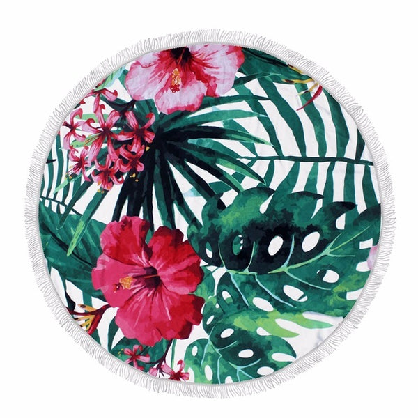 Tropical Leaves Round Beach Towel