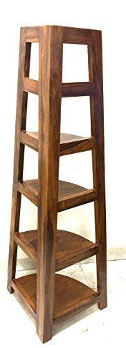 Mamta Decoration Sheesham Wood 5 Tier  Folding Corner Wall Shelf for Living Room