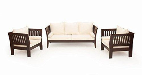 Mamta Decoration Solid Sheesham Wood Brown Sofa Set with Cushion and Covers (3+1+1) - Mamtadecoration