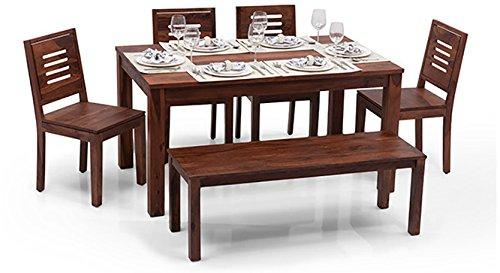 Mamta Decoration Solid Sheesham Wood  Six Seater Dining Set With Bench and 4 Drawers - Mamtadecoration