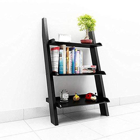Mamta Decoration Solid Sheesham Wood Ladder Shelf Bookcase for Living Room | Black - Mamtadecoration