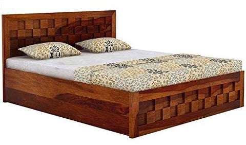 Mamta Decoration Solid Sheesham Wood  King Size Bed With Box Storage (Honey Medium) - Mamtadecoration