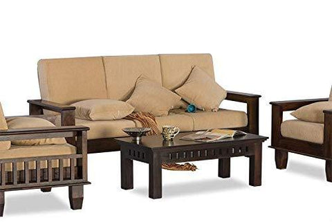 Mamta Decoration Solid Sheesham Wood 5 Seater (3+1+1) Sofa Set with Cushions (Walnut Brown)