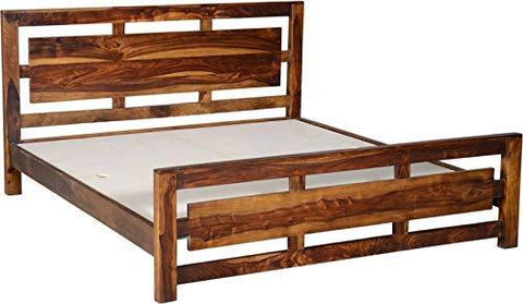 Mamta Decoration Solid Sheesham Wood King Size Bed | Natural Teak Brown - Mamtadecoration