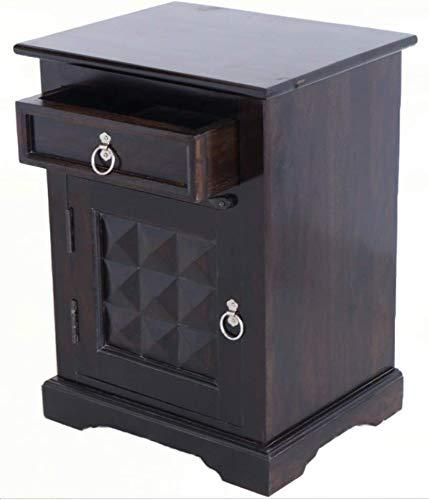 Mamta Decoration Sheesham Wood Diamond Cut Bedside Table - Walnut