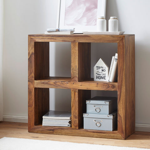 Mamta Decoration Solid Sheesham Wood Bookcase Cube 4 Hole - Mamtadecoration