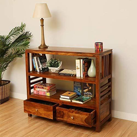 Mamta Decoration Solid Sheesham Wood Book SHELF with Two Drawer - Mamtadecoration