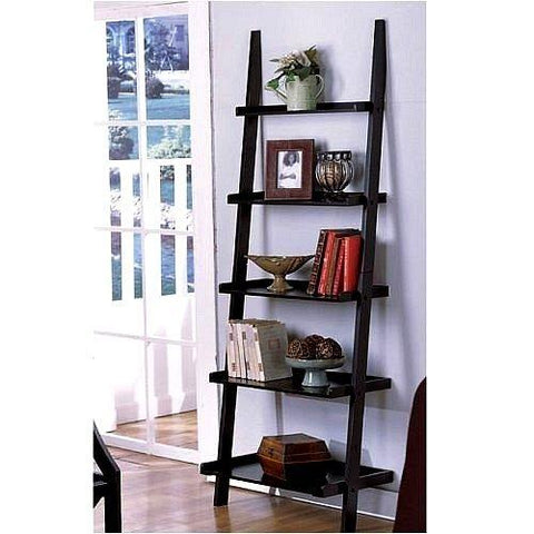 Mamta Decoration Solid Sheesham Wood LEANING LADDER STYLE MAGAZINE / BOOK SHELF on Black Finish - Mamtadecoration