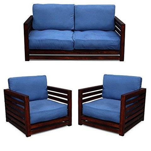 MAMTA DECORATION Three Seater Square Wooden Sofa Set (Walnut Finish, Brown)