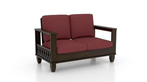 Mamta Decoration Solid Sheesham wood Two Seater Sofa Dark Brown Finish