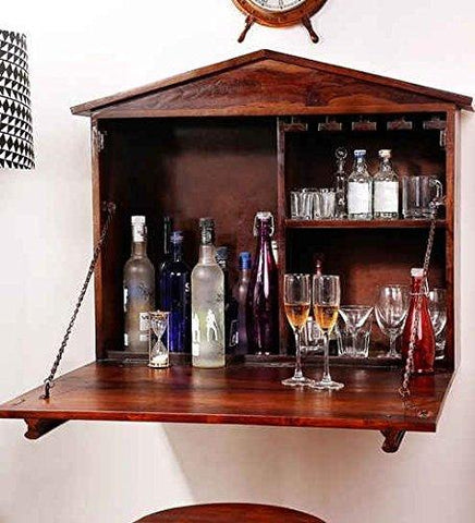 Mamta Decoration Solid Sheesham Wood Wall Bar Cabinet (Teak)