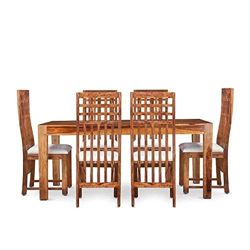 Mamta Decoration Sheesham Wood Dining Table Set (6 Seater Dining Table, Natural Teak Brown with high Bag Chair)