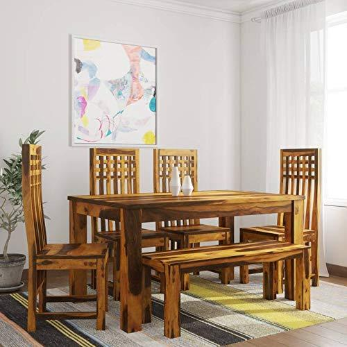 Mamta Decoration Solid Sheesham Wood Dining Table Set with 4 Chairs & 1 Bench (Teak Finish)