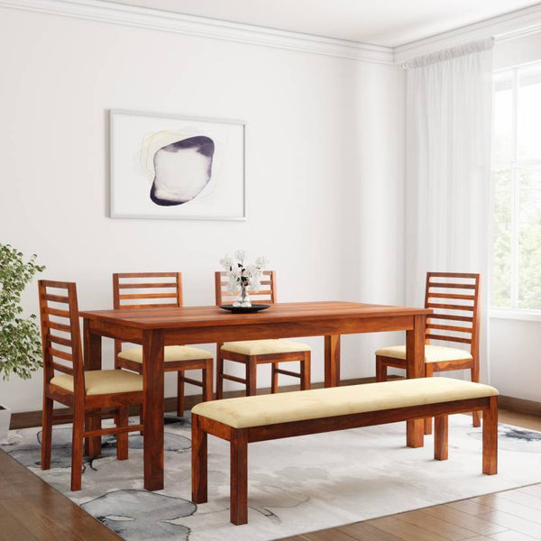 MAMTA DECORATION Sheesham Solid Wood 6 Seater Dining Set  (Finish Color - Honey)