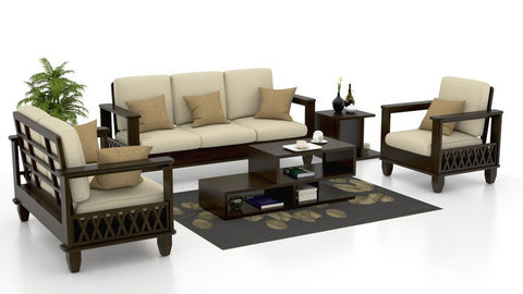 Mamta Decoration Solid Sheesham wood 3+2+1 Seater Sectional Wood Sofa Set - Mamtadecoration