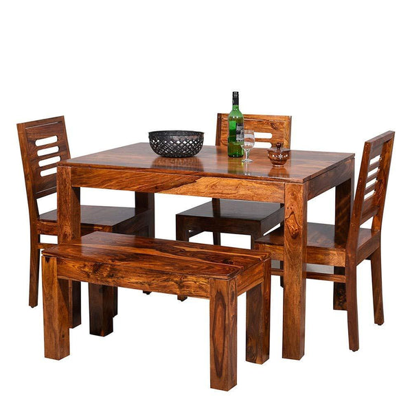 Mamta Decoration Solid Sheesham Wood Dining Table Set with 3 Chairs & 1 Bench (Natural Teak Finish) - Mamtadecoration