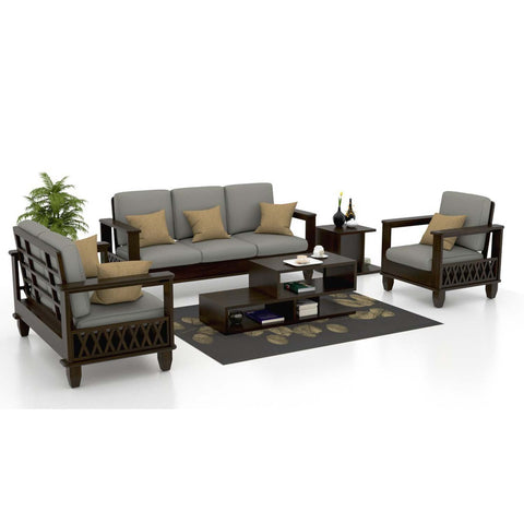 MAMTA DECORATION SOLID SHEESHAM WOOD  3+2+1 Italian Oak Wooden Leatherette Sofa Set (Standard, Neutral Grey) - Mamtadecoration