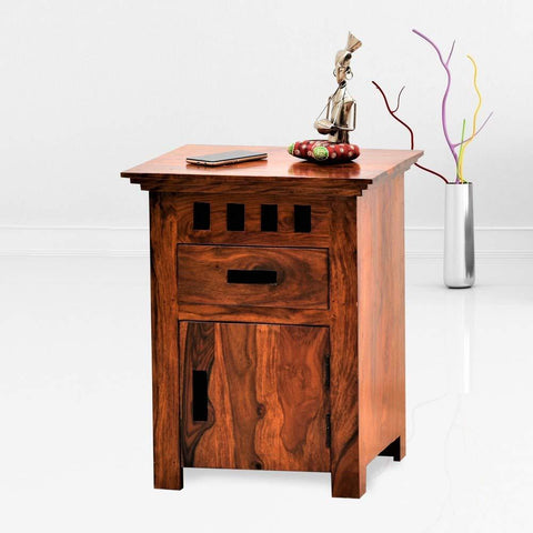 Mamta Decoration Sheesham Wood Traditional Bedside Table - Honey