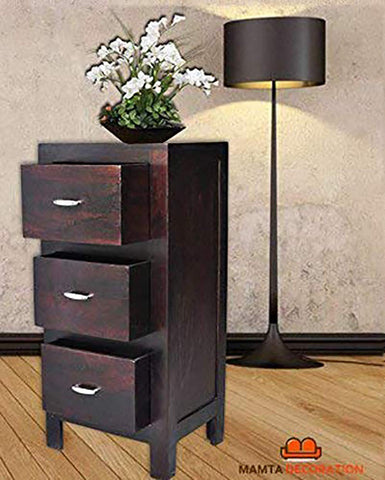 Mamta Decoration Sheesham Wood Smart 3 Drawer Storage Bed Side End Table | Dark Brown