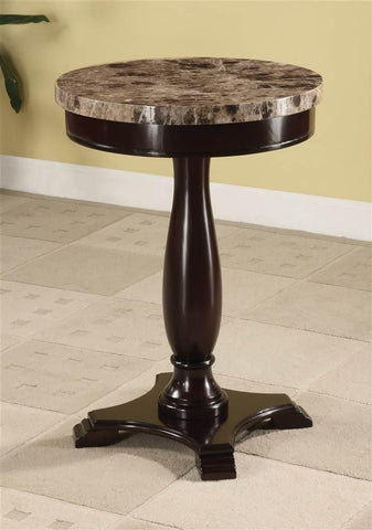 Mamta Decoration Sheesham Wood Round Table Marble Veneer Top and Espresso Base