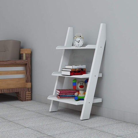Mamta Decoration Solid Sheesham Wood Ladder Shelf Bookcase for Living Room| White - Mamtadecoration