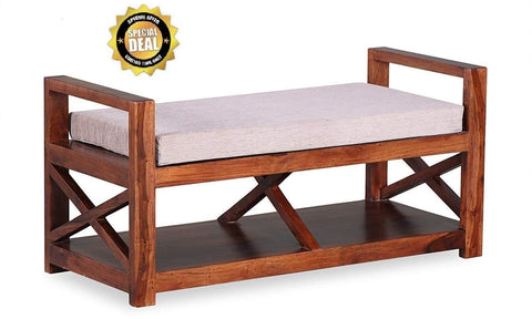 MAMTA DECORATION SOLID SHEESHAM WOOD Armrest Bench with Shelf at Bottom - Mamtadecoration
