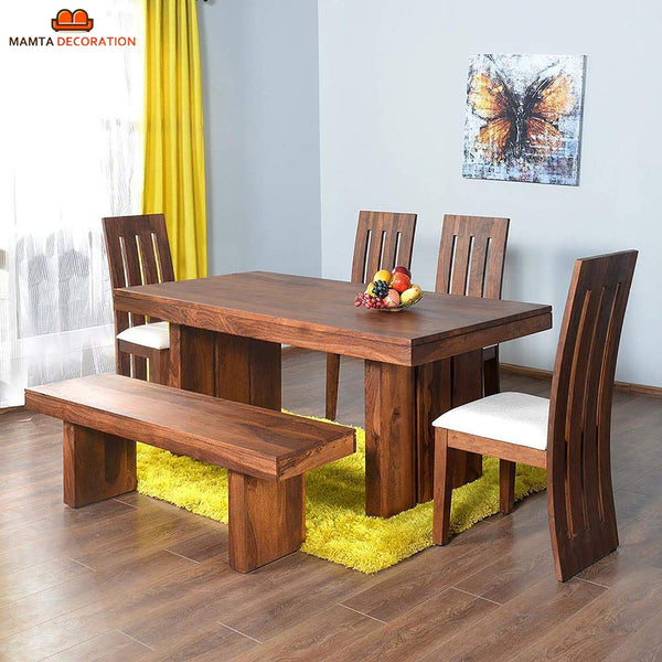 Mamta Decoration Sheesham Wood Dining Set for Living Room | with Four Chair and One Bench | Honey Finish - Mamtadecoration