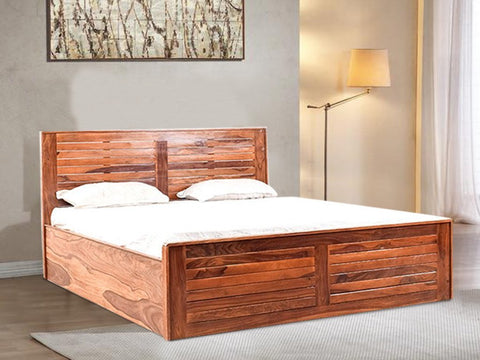Mamta Decoration Solid Sheesham Wood  King Size Bed (Teak Finish) - Mamtadecoration