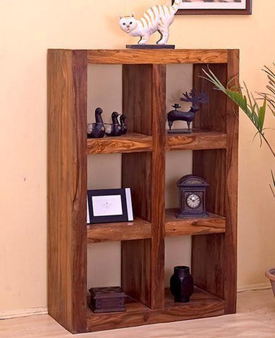 Mamta Decoration Solid Sheesham Wood Cube 6 Hole BOOK SHELF - Mamtadecoration