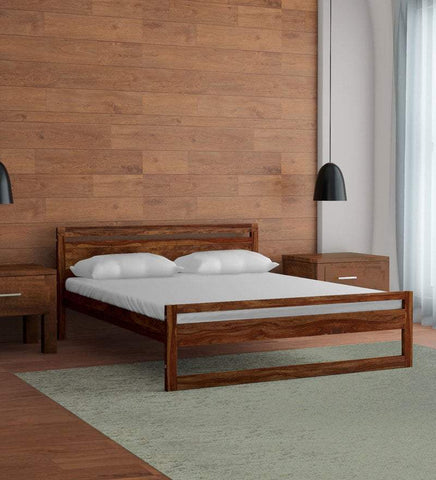 Mamta Decoration Solid Sheesham Wood Queen Size Bed in Provincial Teak Finish - Mamtadecoration