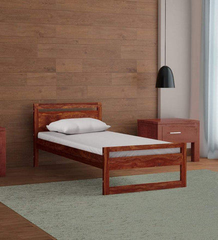 Mamta Decoration Solid Sheesham Wood Single Bed in Provincial Teak Finish - Mamtadecoration