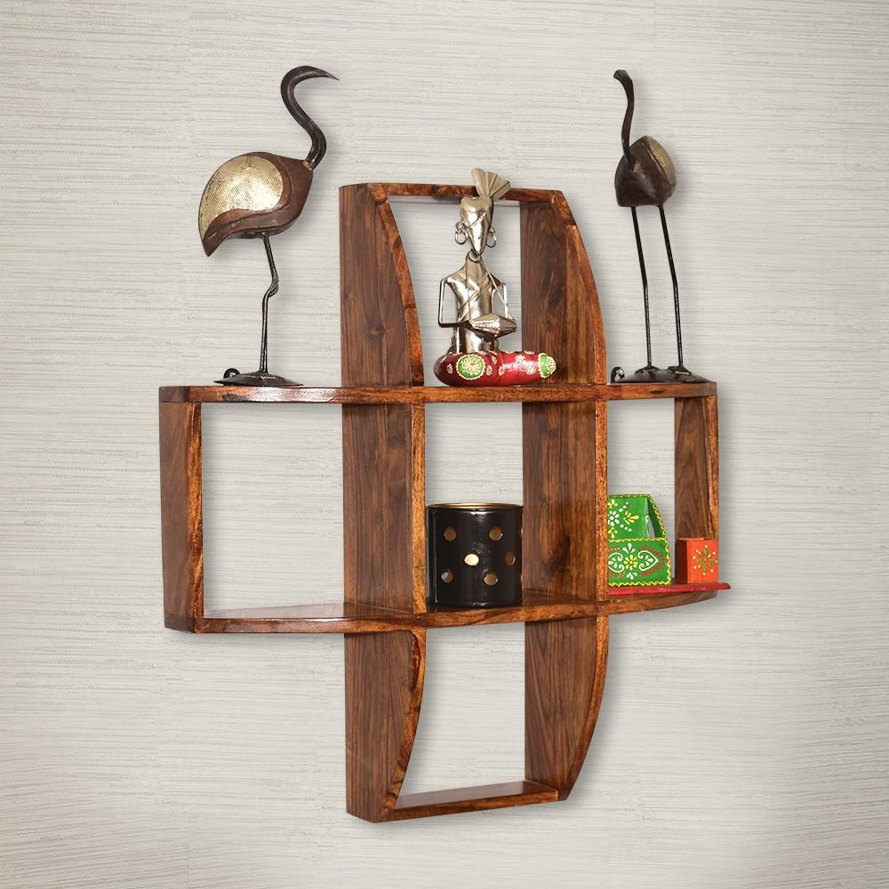 Mamta Decoration Solid Sheesham Wood Criss-Cross 2 Tier Wall Shelf