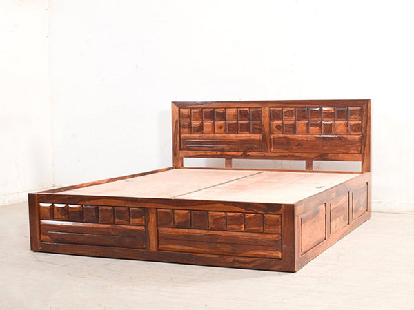 Mamta Decoration Solid Sheesham Wood King Size Bed With Pull Out Drawer Storage In Teak Finish